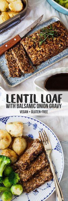 Lentil Roast with Balsamic Onion Gravy (Vegan + GF)
