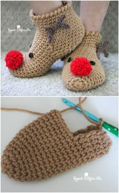 Sep 2019 - You will love this collection of Free Crochet Christmas Slippers and we have some knitted ones too! Check out Elf, Santa and more in our post. Crochet Winter, Knit Or Crochet, Crochet Gifts, Free Crochet, Crochet Amigurumi, Crochet Baby Booties, Crochet Slippers, Elf Slippers, Crochet Slipper Pattern