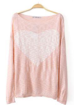 Pink Love Print Long Sleeve Knit Sweater