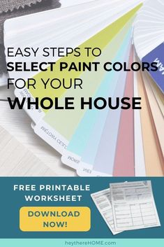 How to create a color palette for your home to get a cohesive look. I'll walk you through the easy steps to create your color palette and you can print out your free cheat sheet to organize your ideas! #color #colorpalette #interiordesign #interiorcolor #choosecolor #neutrals #boldcolor #wallcolor #accentcolor #colorscheme #paintcolor #choosepaint #greige #blueandwhite #printable #decorate #decor #decorating #tutorial #homedecoratingideas #paintingtips #traditionaldecor #moderndecor… Interior Design Guide, Interior Color Schemes, Interior Paint Colors, Paint Colors For Home, House Colors, Neutral Paint Colors, Grey Paint, Accent Colors, Bold Colors