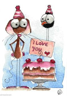 ACEO Original watercolor Folk Art Mouse crow love cake cherries Happy Valentine