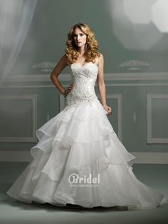 Organza Strapless Sweetheart Ball Gown Wedding Dress With Beaded Wallpaper