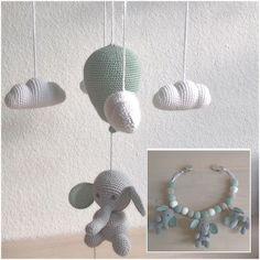 Hæklet uro og barnevognskæde Animals And Pets, Crochet Baby, Knitting, Kids, Inspiration, Instagram, Mobiles, Babyshower, Amigurumi