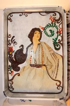 Hand painted wood tray - romanian traditional costume