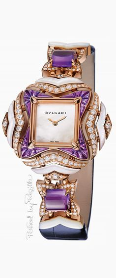 ➺My Jewerly Boxღღ --Bvlgari ~ Giardini Italiani Collection Exquisite Amethyst + Diamond Timepiece Bling Bling, Ring Armband, Purple Jewelry, All Things Purple, Beautiful Watches, Luxury Jewelry, Swarovski, Jewelry Watches, Fine Jewelry