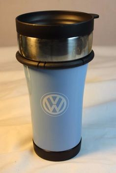 New VW Wolkswagen Travel Cup Blue Lid Coffee Mug Logo Stainless Steel