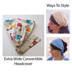Floral Head covering Extra Wide Convertible by SowersofHope Toucas  Cirúrgicas 359b9e55d92