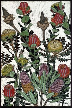 Australian Flowers: Banksias & Dryandra by Rachel Newling. Hand-coloured linocut on handmade Japanese paper,  Rachel Newling Hand-coloured linocut on handmade Japanese paper Это вручную раскрашенная линогравюра на японской бумаге ручного изготовления!