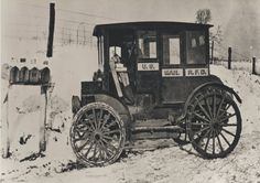 Postcard Rural carrier in automobile at mailboxes, ca.1910 Electric Car