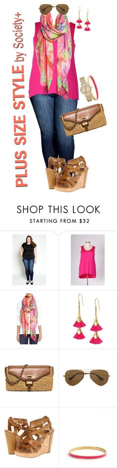 """Plus Size Basics - Society+"" by iamsocietyplus on Polyvore featuring Kane, Chelsey, Stella & Dot, MICHAEL Michael Kors, Ray-Ban, Dolce Vita, Kate Spade, plussize, plussizefashion and societyplus"