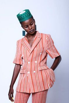 Short sleeve double-breasted suit jacket - Baba i Kente Styles, Country Outfits, Cute Summer Outfits, Fashion Brand, Women's Fashion, African Fashion, Blouse Designs, Double Breasted, Fabric Design