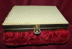 Antique Red Velvet Jewelry Trinket Box Faux Pearl Beaded Adorned Lid #Unbranded