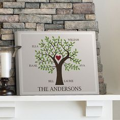 Family Tree Print on Canvas in 3 Designs | Personalized Wall Art 18x14