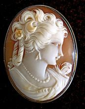 Fabulous Antique Hand Carved Shell Cameo in 10K Gold Beautiful Face