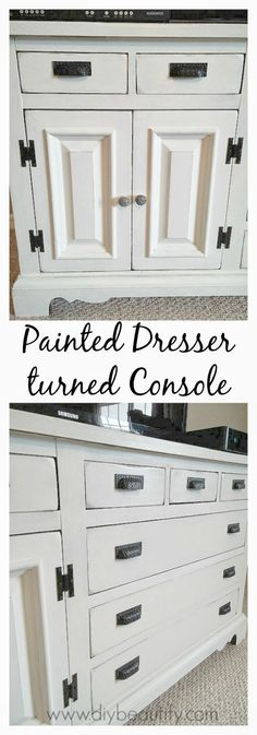 Old Dresser turned Console Table at www.diybeautify.com