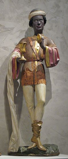 Caspar of the Three Kings, from an Adoration Group. Date circa before 1489AD. Made in Swabia, Germany.