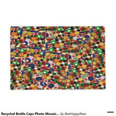Recycled Bottle Caps Photo Mosaic on Placemats Laminated Placemat