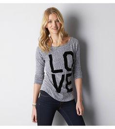Ebony Grey AEO Love Graphic T-Shirt, size medium