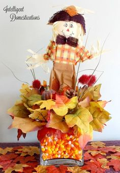 Ways To Use That Room Below Your Stairs Our Adorable Scarecrow Candy Corn Centerpiece Is A Dollar Store Craft Which Was Fun To Make And Very Affordable. He Is Always Smiling Because He Knows You Can't Get His Candy Corn Dollar Tree Fall, Dollar Tree Crafts, Thanksgiving Decorations, Halloween Decorations, Fall Decorations, Thanksgiving Crafts, Thanksgiving Parties, Fall Halloween, Halloween Crafts