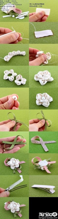 ~DIY Flower Decoration Tutorial fabric flowers, textile, c: paper crafts for kids, flower crafts for kids,crafts, how to make a flower, cute, awesome, cool, kawaii, string, sew, stitch