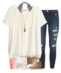 """oovoo w/ my faves"" by sarahc01 ❤ liked on Polyvore featuring J Brand, H&M, French Connection, Disney, Essie and Loren Stewart"