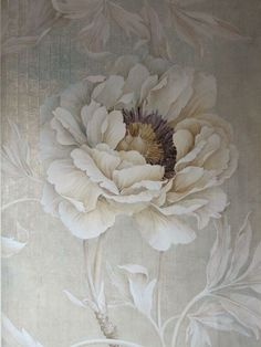 peony wallpaper by Wouter Dolk Hand Painted Wallpaper, Wall Wallpaper, Art Floral, Poster Mural, Wall Murals, Wall Art, Autumn Rose, Winter Rose, Grisaille