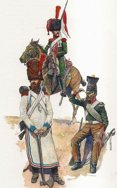 Grand Duchy of Berg L to R Sapper Line Infantry Regt. Elite Company Regt Cheval-Legers Lancers Corporal Regt Chevau-Legers Lancers in Spain. Empire, Independence War, Battle Of Waterloo, German Uniforms, War Of 1812, French Army, French Revolution, Napoleonic Wars, Dark Ages