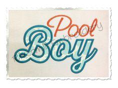 $2.95Applique Pool Boy Machine Embroidery Design