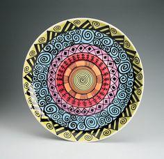 Rainbow Platter 131/4 Hand Painted Bohemian by owlcreekceramics, $55.00