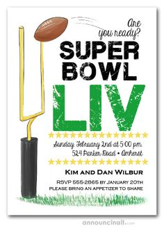 A football sails through the uprights on these Super Bowl LIV Party Invitations, perfect way to invite the gang over for your Super Bowl party. Printable Invitation Templates, Invitation Kits, Digital Invitations, Invite, Bachelor Party Games, Bachelor Party Invitations, Bumble Bee Invitations, Games For Men, Super Bowl