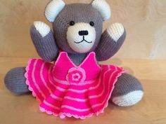 Grey Berd Bear, Pink Crocheted Dress
