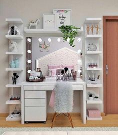 great teenage girl room decor from dressing table to cute bedroom be the prettiest ! « Dreamsscape great teenage girl room decor from dressing table to cute bedroom be the prettiest ! Makeup Room Decor, Makeup Rooms, Teenage Girl Room Decor, Teenage Girl Bedrooms, Girls Room Desk, Girls Bedroom Storage, Bedroom Girls, Girl Rooms, Vanity Room