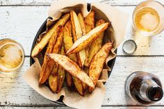 A bowl of crunchy, savoury oven-roasted potato wedges is an easy and always welcome snack with drinks.