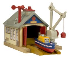 Thomas And Friends Wooden Railway - Captains Shed S by Learning Curve Wooden Train, Thomas And Friends, Wood Toys, Model Trains, Shed, Volcano, Engine, Park, Birthday