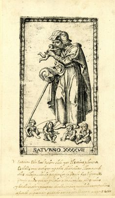 Eating his children; WL male figure turned to l; holding a staff in his r hand and a child in his l hand; another four children seated in foreground; after the so-called Tarocchi Cards of Mantegna.  Engraving