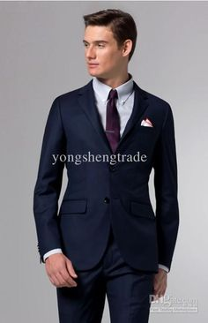 Top Quality New Groom Tuxedos Wedding Men'S Suit Bridegroom Suits Navy Suit Popular Suit Customized Made Suit Mens Dress Trousers Mens Formal Attire From Yongshengtrade, $88.85| Dhgate.Com