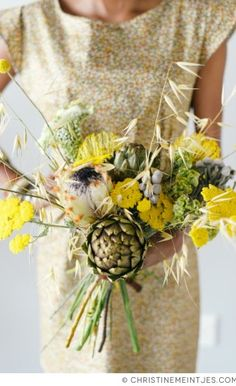 Earthy yellow bouquet with artichokes | Photo by Christine Meintjes