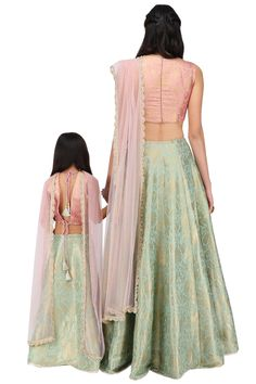 Payal Singhal presents Mother and Daughter dusky rose and mint lehenga set available only at Pernia's Pop Up Shop. Banarasi Lehenga, Anarkali, Mother Daughter Dresses Matching, Latest Colour, Indian Fashion Dresses, Pernia Pop Up Shop, Indian Attire, Designer Sarees, Blouse Designs