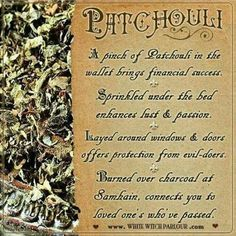 Dont know where to find patchouli but I use the essential oil. Not a lot because remember it takes a lot of leaves to get the essence of the patchouli Magic Herbs, Herbal Magic, Wiccan Spells, Magick, Magic Spells, Healing Spells, Hoodoo Spells, Easy Spells, Luck Spells