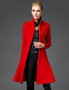 Womens Stand Collar Trench Mid Long Coat Slim Fit Wool Blend Lady Overcoat Vogue in Clothing, Shoes & Accessories, Women's Clothing, Coats & Jackets Langer Mantel, Stylish Coat, Sammy Dress, Mode Inspiration, Mode Style, Ideias Fashion, Fall Outfits, Winter Fashion, Fashion Night