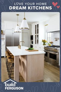 Gorgeous lighting, appliances, flooring, sinks, faucets, and cabinet hardware come together to make the perfect space. Find everything you need for your kitchen remodel. Modern Farmhouse Kitchens, Farmhouse Kitchen Decor, Kitchen Redo, New Kitchen, Home Kitchens, Kitchen Dining, Kitchen Remodel, Kitchen Island, Hinkley Lighting
