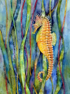 Seahorse Art Print featuring the painting Seahorse by Hailey E Herrera Seahorse Painting, Seahorse Art, Seahorses, Sea Life Art, Sea Art, Ocean Life, Watercolor Fish, Watercolor Paintings, Watercolor Quilt