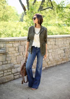 flared jeans and army green jacket #spring