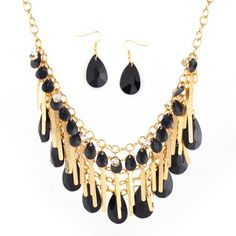 Black And Gold Fringes And Tear Drop Bib Necklace And Earring Set
