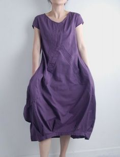 Flowers' Language/Pleated Asymmetrical linen long dress/15 colors/ custom made