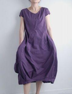 Flowers' Language/Pleated Asymmetrical linen long dress/15 colors/ custom made