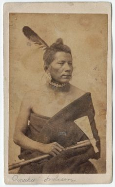Omaha Indian Warrior w/ Pipe Tomahawk CDV (c.1860s).