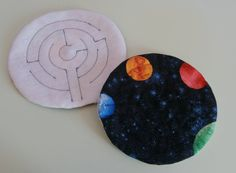Fabric Marble Maze  Round Space / Planets by EmmisOwls on Etsy, $6.00