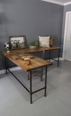Industrial L Shaped Desk, Wood Desk, Pipe Desk, Reclaimed Wood, Industrial Desk by DendroCo on Etsy https://www.etsy.com/listing/197521358/industrial-l-shaped-desk-wood-desk-pipe