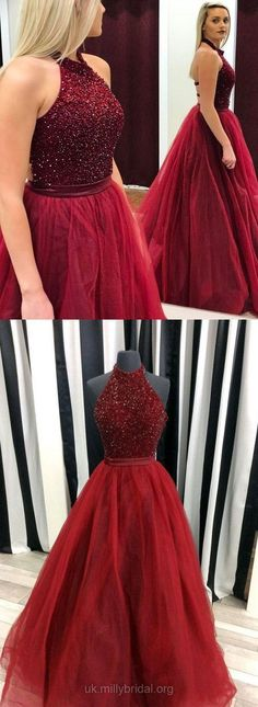 Long Prom Dresses, Burgundy Prom Dresses 2018, Satin Prom Dresses Tulle, Halter Prom Dresses Ball Gown, Modest Prom Dresses For Teens Beading